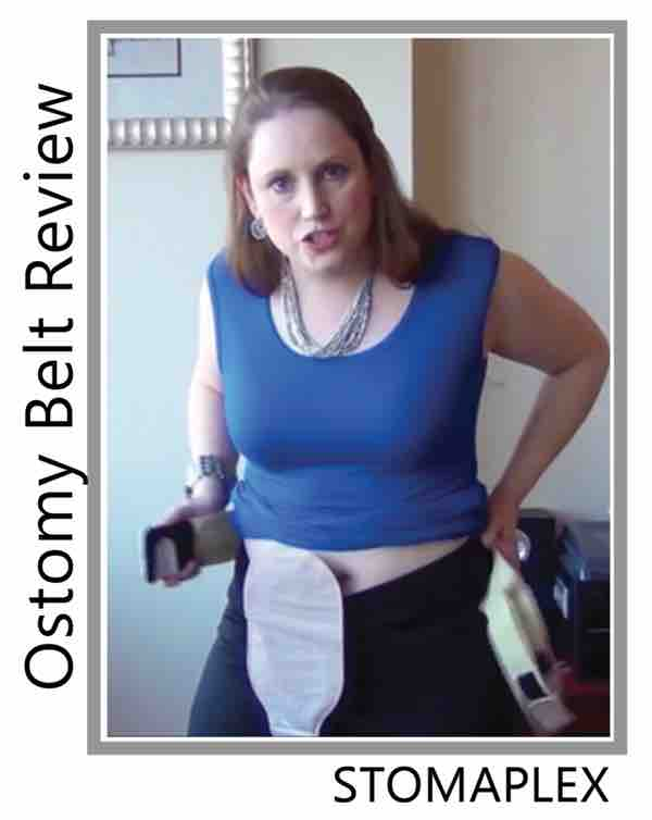 women shows ostomy bag, ileostomy bag, stoma output is allowed flow freely with the Stomaplex stoma guard and stomaplex ostomy belt for women.