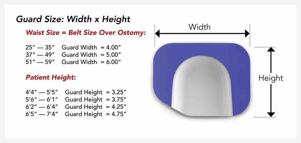 Ostomy Belt for Sport size chart, ostomy exercise belt