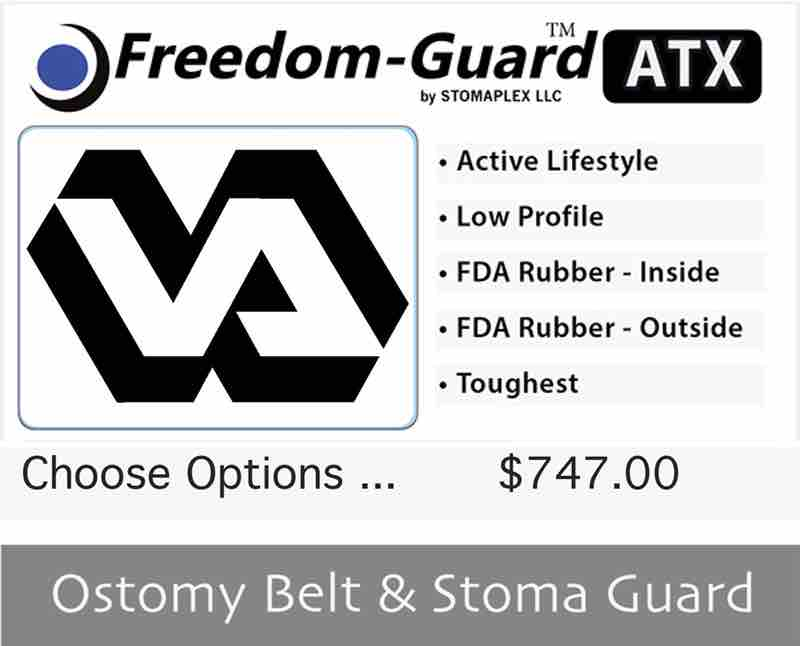 Veterans ostomy belt with stoma guard available as a three pack.