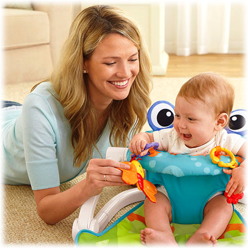 Two linkable toys include a butterfly with soft wings & a flower teether.