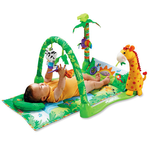 Overhead gym. Soft mat with overhead toys, spinning butterflies, friendly giraffe and colorful palm tree to fascinate baby.