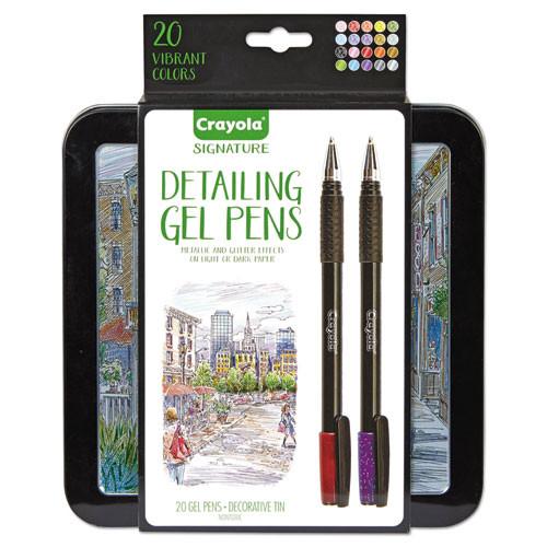 Detailing Gel Pens, Fine, 1 mm, Assorted Ink, Black Barrel, 20ct.