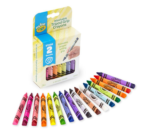 Washable Tripod Grip Crayons, 16 ct