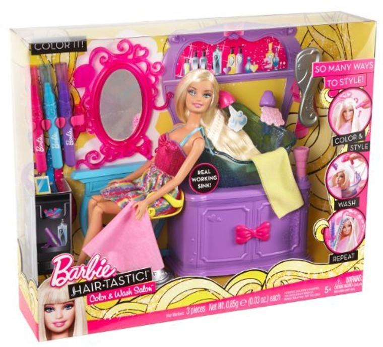 Barbie Hairtastic Color And Wash Salon Playset V4411