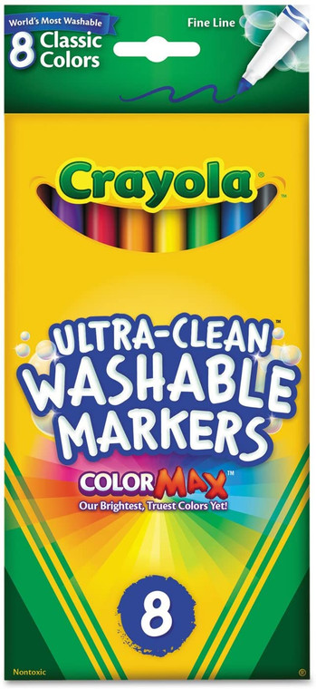 Crayola Crayola Markers, Washable, Classic Colors, Fine Line, 8 markers 5878097018