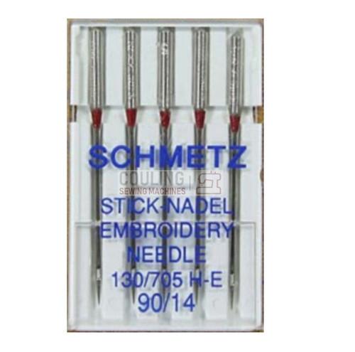 Schmetz Sewing Machine Needles Embroidery H-E Size 90/14