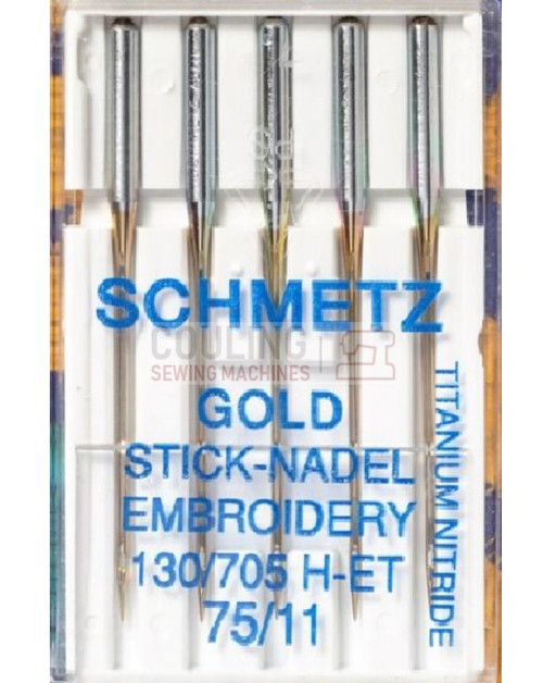 Schmetz Sewing Machine Needles Gold Titanium Embroidery H-ET Size 75/11