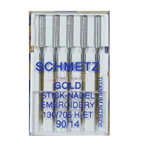 Schmetz Sewing Machine Needles Gold Titanium Embroidery H-ET Size 90/14