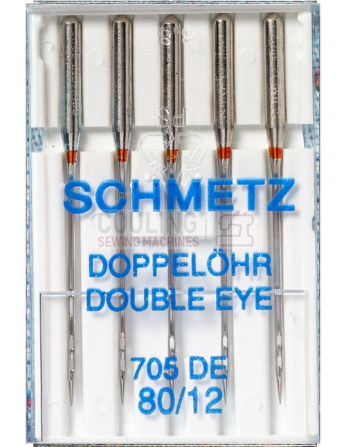 Schmetz Sewing Machine Double Eye Needles 705 DE Size 80/12