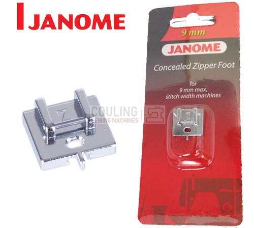 JANOME CONCEALED INVISIBLE ZIP Z FOOT - 202144009 9mm CATEGORY D