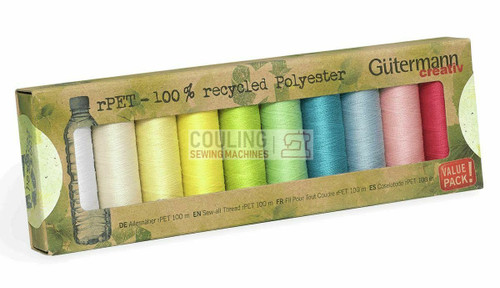 Gutermann Sew All 100m x 10 Pastel Box set 100% Recycled Polyester rPET Gut-731138-2