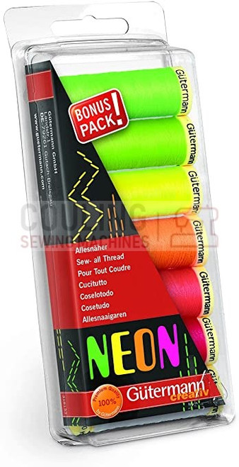 Gutermann Sew All 100m x 7 Bright NEON Box Set 100% Polyester 731148-1