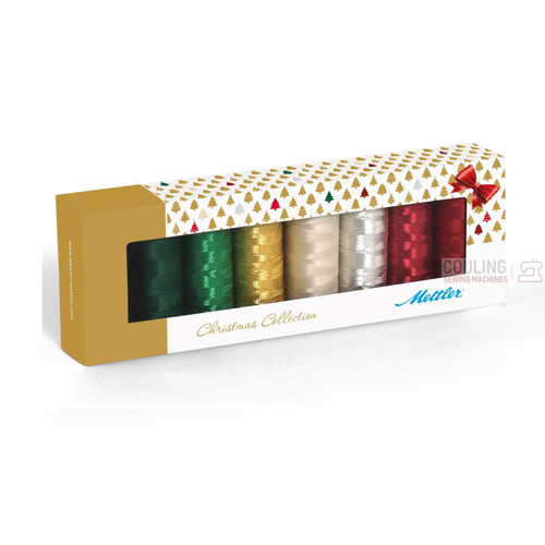 Mettler Xmas Sewing & Embroidery Thread Metallic & Poly Sheen Christmas Colours x 8 Box Set