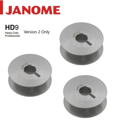 Janome Genuine Bobbins HD9 Metal JUMBO 767860 Version 2 x 3