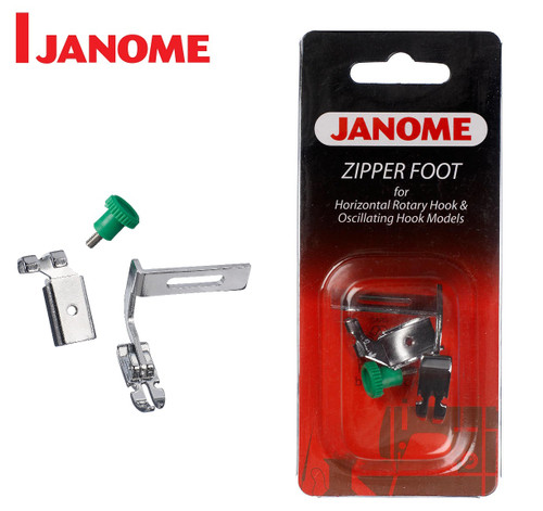 JANOME ADJUSTABLE ZIPPER / PIPING FOOT (SCREW ON) - 200342003 - CATEGORY A & B - OPENED PACKET
