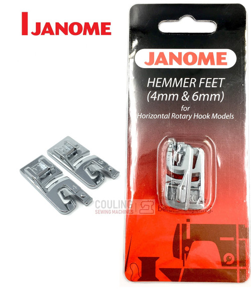 JANOME 4mm & 6mm HEMMER FOOT SET D1 & D2 - 200326001 -  CATEGORY B & C - OPENED PACKET
