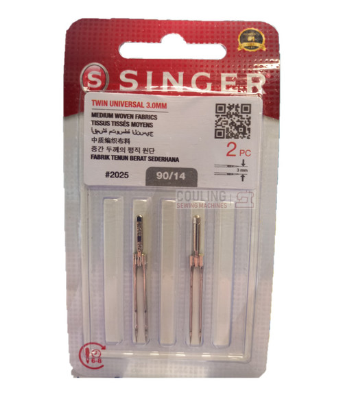 Singer Sewing Machine Twin Needles 2025 size 90/14 3mm gap