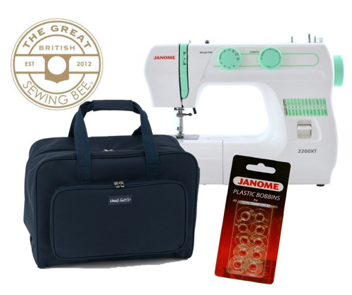 Janome 2200XT Sewing Bee Bundle - Includes Navy Carry Bag & Janome Bobbins Worth £27.50