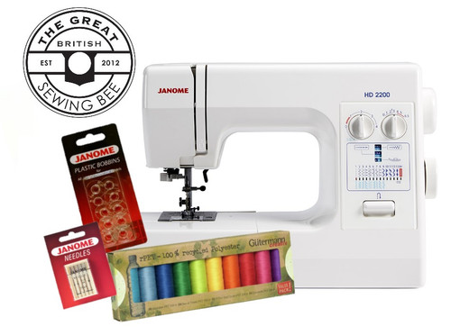Janome HD2200 Sewing Machine Sewing Bee Bundle - Includes Janome Bobbins, Needles & Threads Worth £27