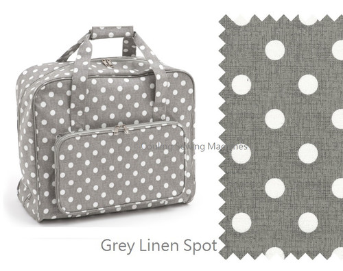 Premium Sewing Machine Carry Bag POLKA DOT GREY LINEN 268