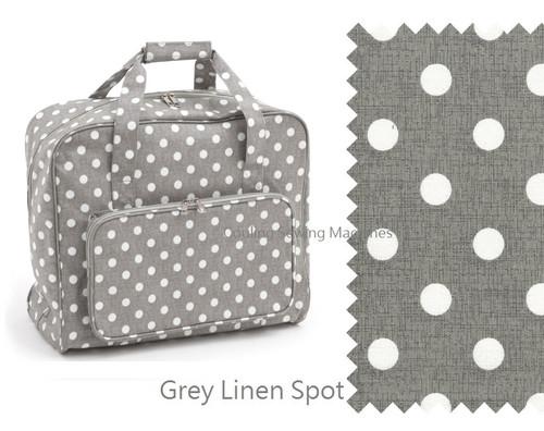 Premium Sewing Machine Carry Bag POLKA DOT GREY LINEN 268