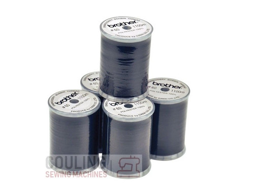 5 Reels of Brother Embroidery Bobbin Thread 1100m 60 weight BLACK