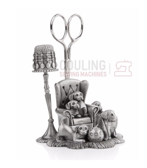 Pewter Puppy Needle Work Sewing Station Collectable Gift 8922