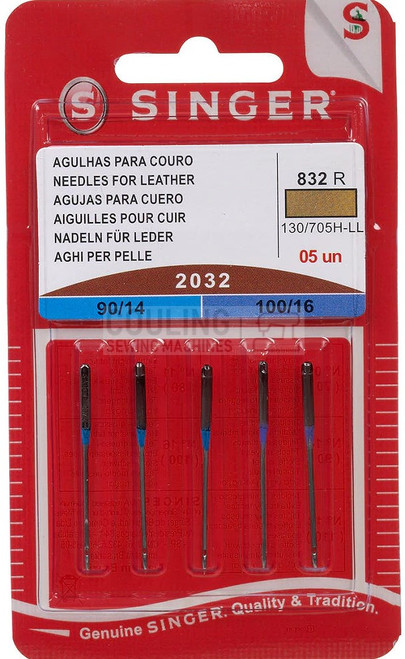 Singer Sewing Machine Needles 2032 5pk Leather Mix 90,100