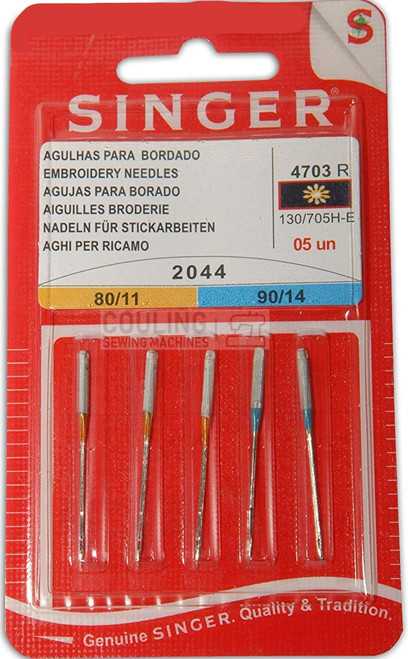 Singer Sewing Machine Needles 2044 5pk Embroidery Mix 80,90