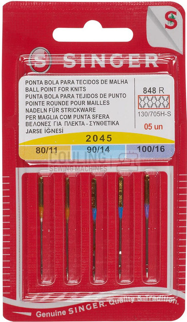 Singer Sewing Machine Needles 2045 5pk Ball Point Mix 80,90,100