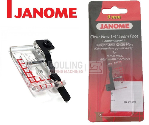 "JANOME CLEAR VIEW 1/4"" SEAM FOOT - 202216003 9mm CATEGORY D"