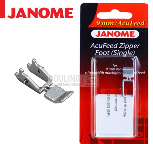 JANOME ACUFEED ZIPPER NARROW ZIP ED FOOT - 202128007 9mm CATEGORY D