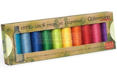 Gutermann Sew All 100m x 10 Bright Basic Box set 100% Recycled Polyester rPET