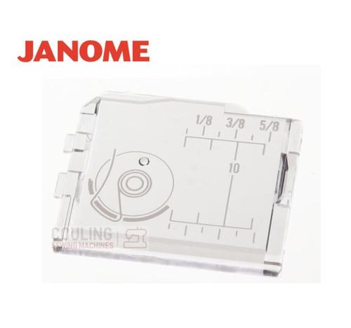 Janome Slide Plate / Bobbin Cover - 750036001   Fits:    3018, DC3050, 4618, 4018, 4023, 4618, 4623, 5000, HD2200, 521s, 525s (not sew mini 525), 625E, JL150, JL250, JL300C, 7025, 7021, 8077, JUBILEE 85, DC4100, 5200, 4030, JP720, JP760, JEM 720, JEM 760, XL30, 3000, 3500, 4000, 4800, 4900, 5200, 5700, 9000, 10000, 10001, DM2000, 5050, 5018, BCC30, SL30X, JLX2000, CXL301, CP5000, MC5900QC, 5024, 5124, CMX30, DEX30