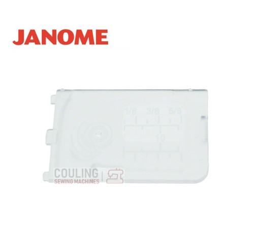 Janome Slide Plate / Bobbin Cover - 809136100  Fits:    DKS30, DKS100, MC9900, MC15000, Atelier 3, Atelier 5, Atelier 6, Atelier 7, Atelier 9, DC6030, DC7100, MC8900QCP SE, MC8200QC SE, MC14000, MC 9400QCP, MC500E, MC400E