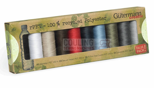 Gutermann Sew All 100m x 10 Basic Box set 100% Recycled Polyester rPET 731138-1