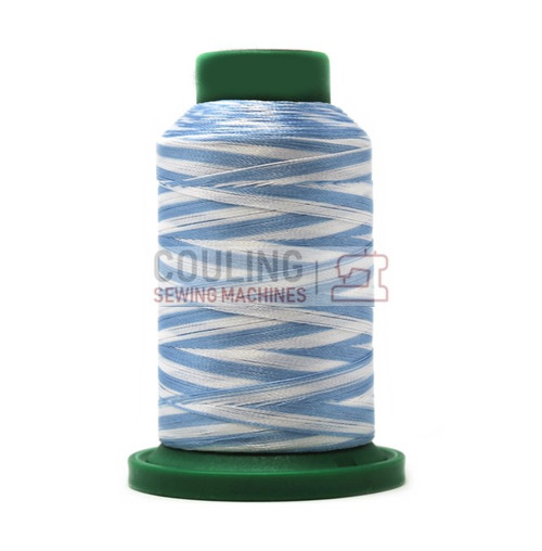 Isacord Polyester Embroidery Machine Thread 1000m - Multi Colour Blues & White 9603