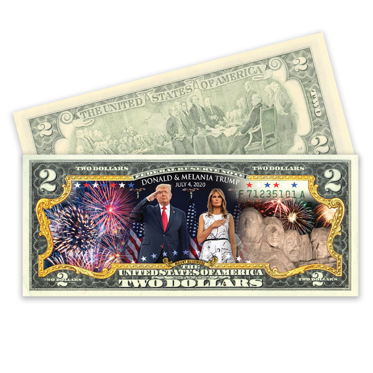 Mount Rushmore Colorized $2 Bill