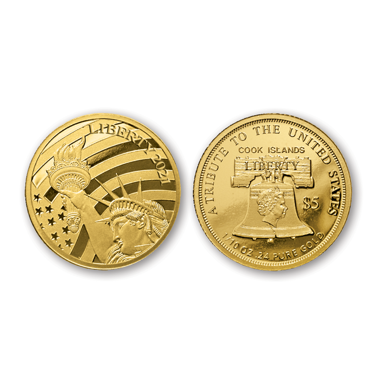 2021 Cook Islands Statue of Liberty .24 Pure Gold $5 Coin