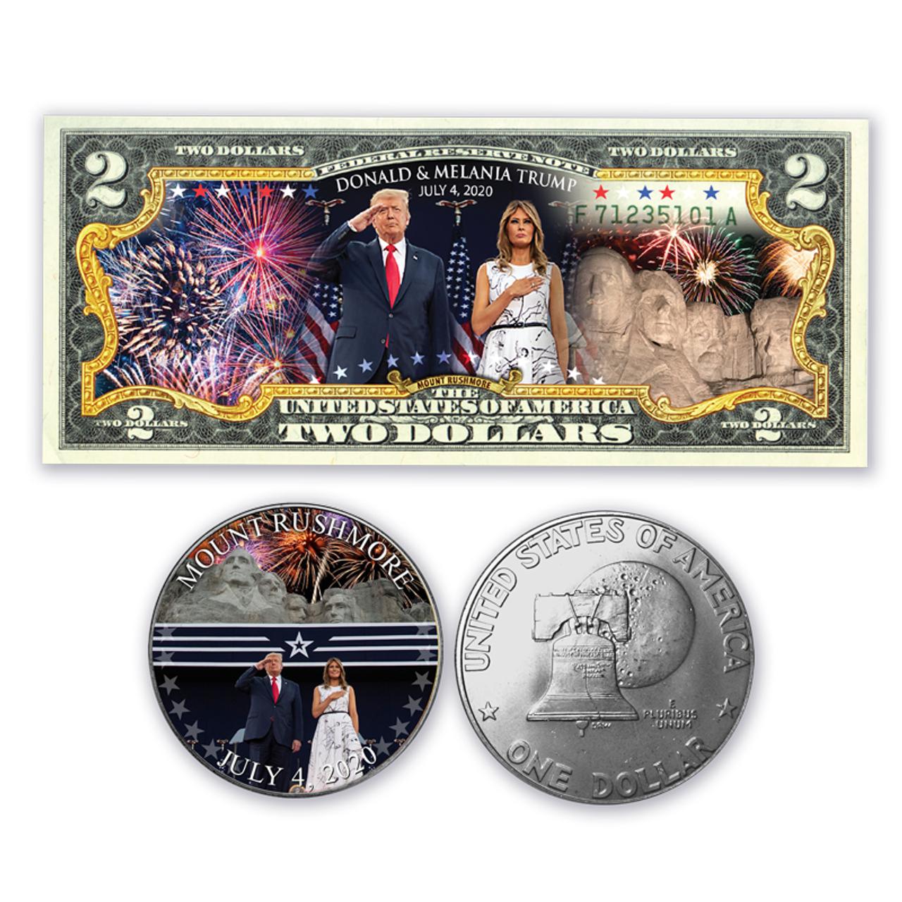 Trump / Rushmore Bill and Coin Set