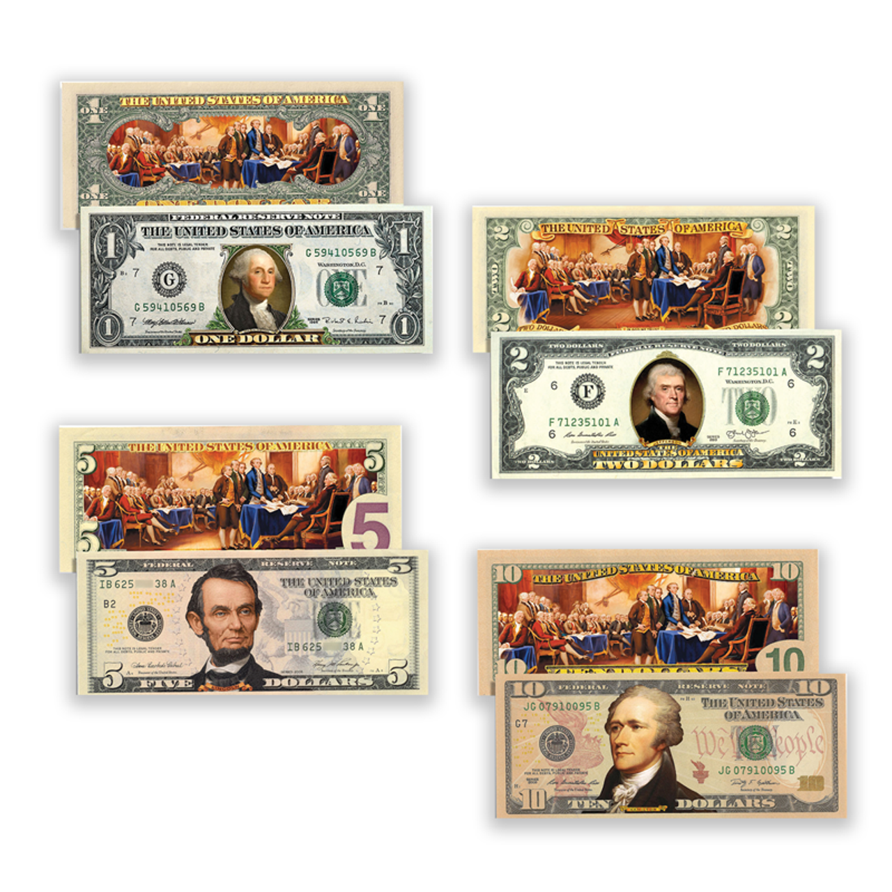 Declaration of Independence Full Color Currency Denomination Set