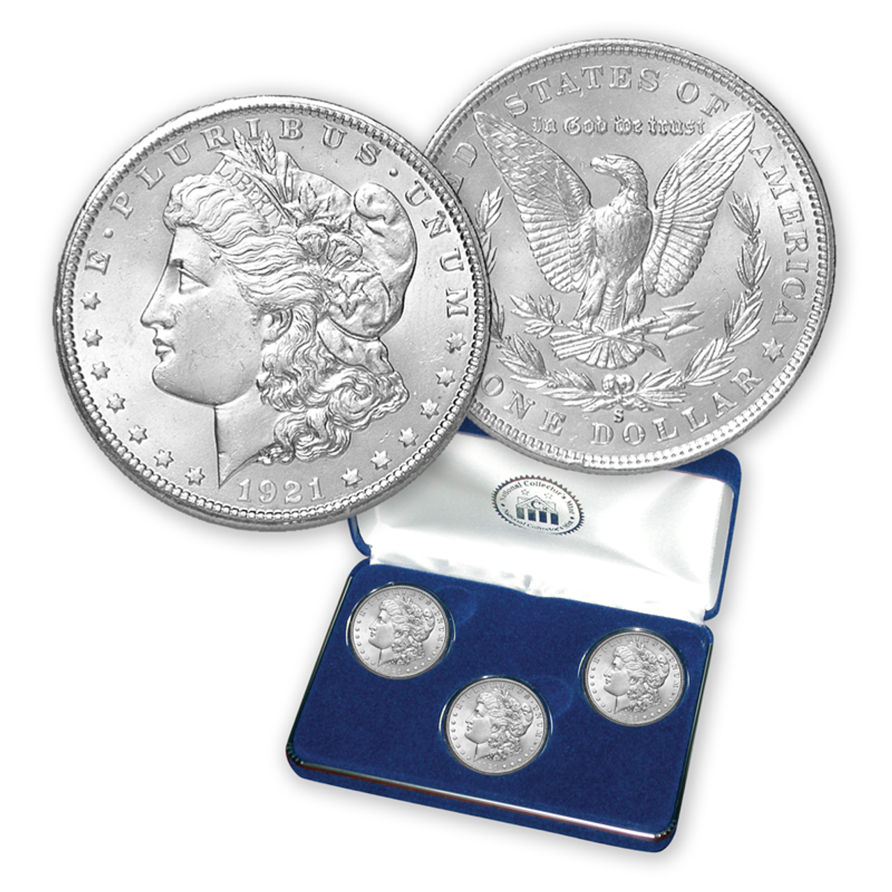 1921 Morgan Silver Dollar PDS Set with Free Display Case