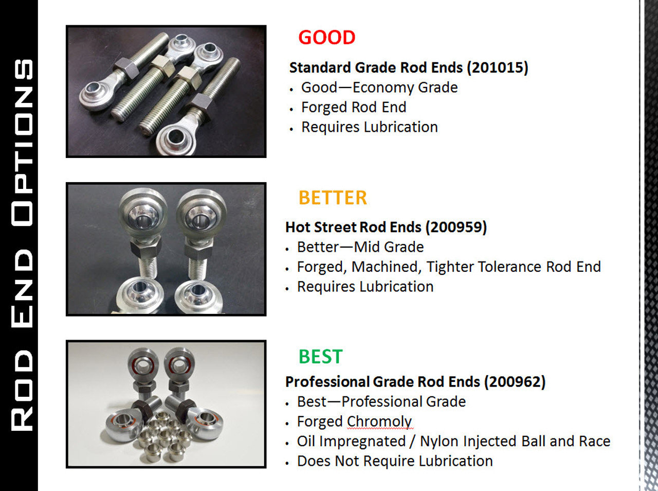 """2011+   Ford   Bolt on Short Bed Traction Bar Kit   Professional Grade Rod Ends   72"""" center hole to center hole   201049-72"""