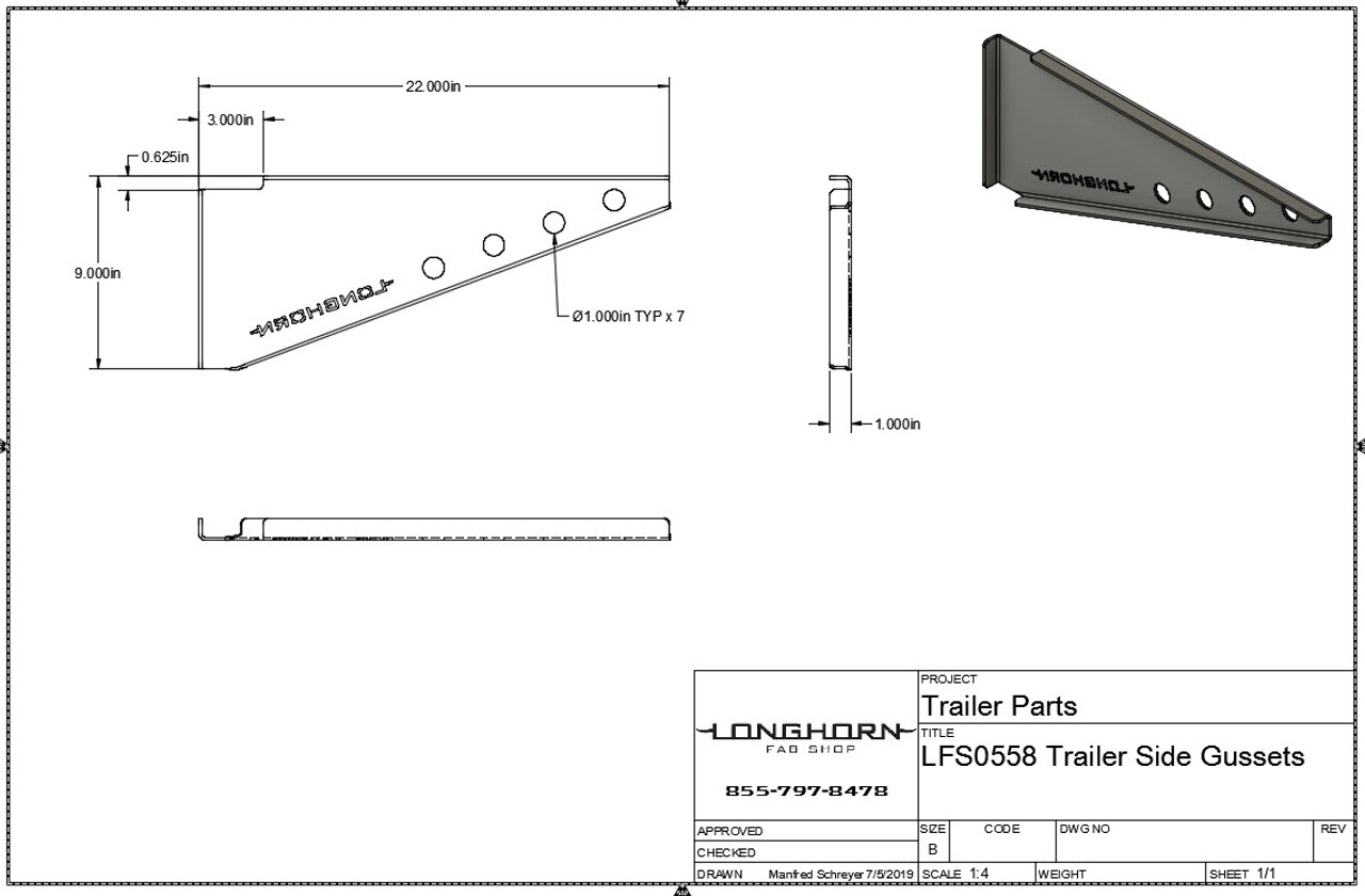 Heavy Duty Professional Grade Trailer Deck Gussets | Steel | Made in America| 201064