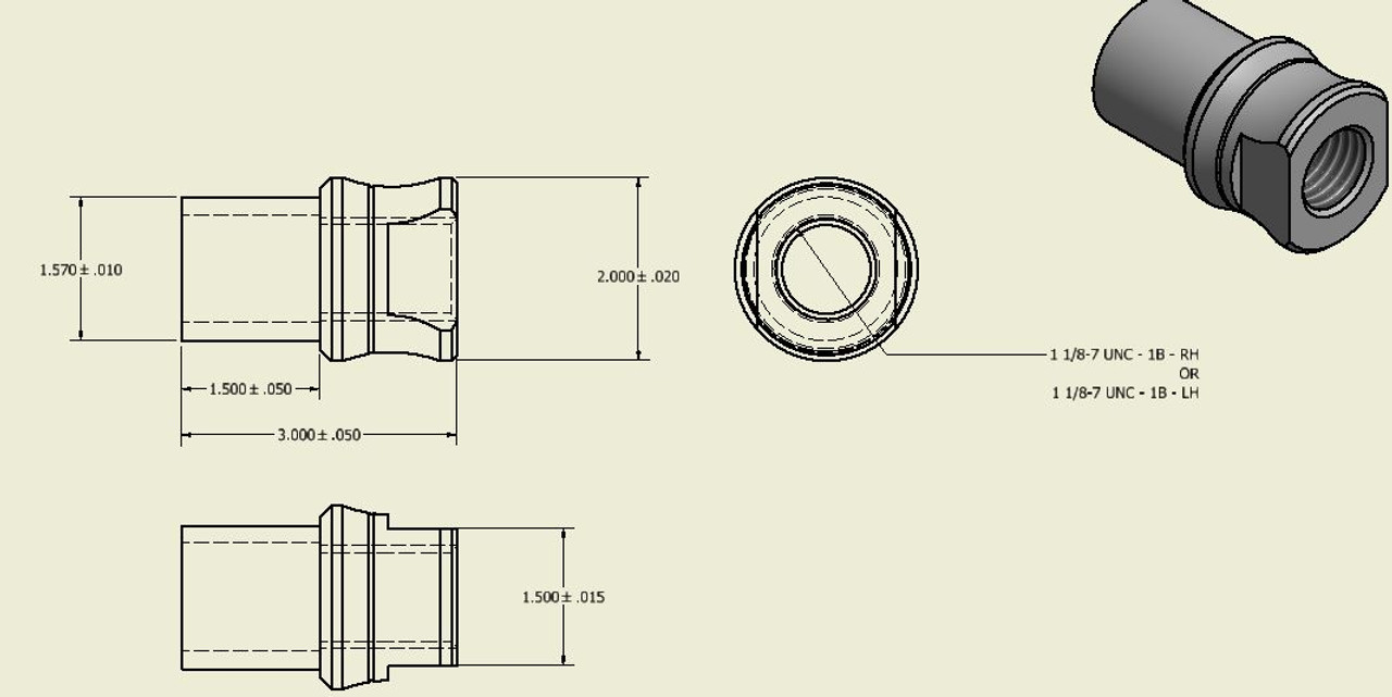 1.125in-7 Thread Weld In Bungs (Set of 4) (200954)