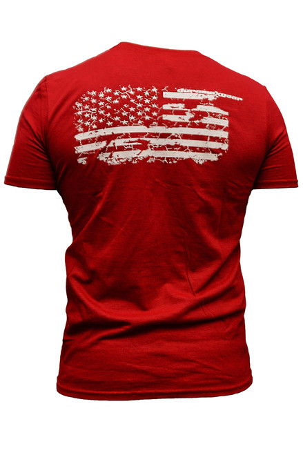 DuramaxGear - Red distressed Duramax with Flag- Red and White (T14020)