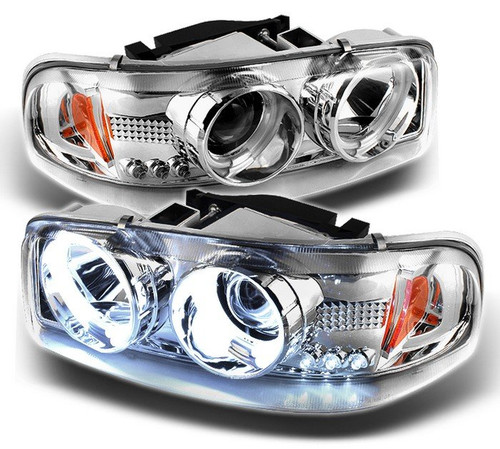 GMC Chrome Halo and LEDs with Projector Headlights (01-07 Classic)