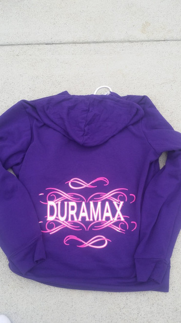 DuramaxGear - Women's Zip-Up Hoodie- Pink and White (T14016)
