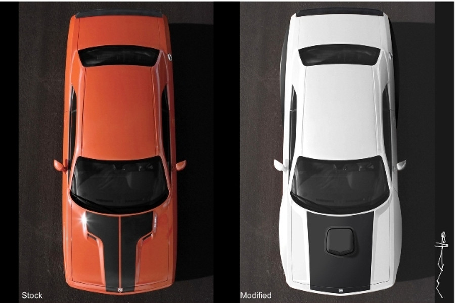 Side by Side comparison to a stock Challenger - Overhead View