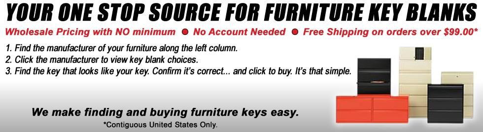 Furniture Key Blanks and Keys